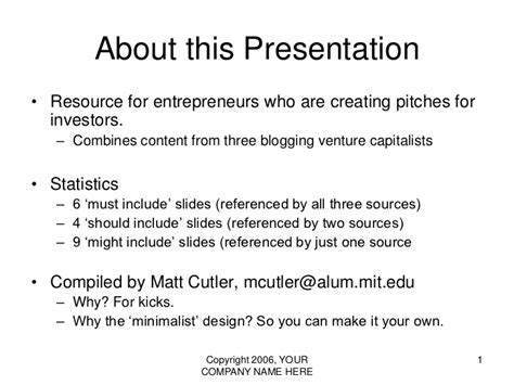 Vc Pitch Presentation Template The 10 20 30 Rule Of Powerpoint Powerpoint Presentation Outline Template
