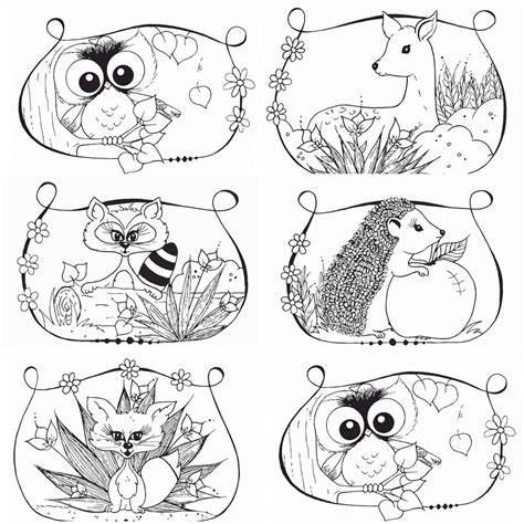 printable coloring pages woodland animals woodland coloring pages 6 pc pdf file