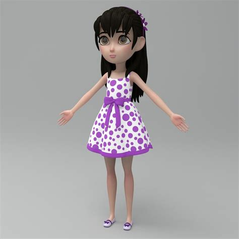 3d little girl pw 3d cartoon model