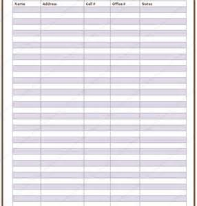List Templates Printable by Free Printable Contact List Templates