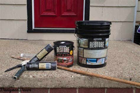 applying rust oleum restore deck  concrete   front