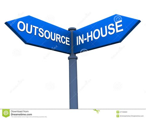 Inhouse by Outsource Versus Inhouse Stock Photos Image 27100663