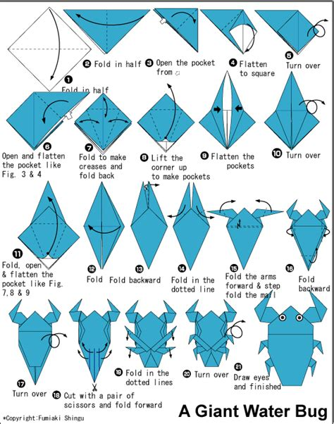 How To Make A Paper Insect - water bug easy origami for