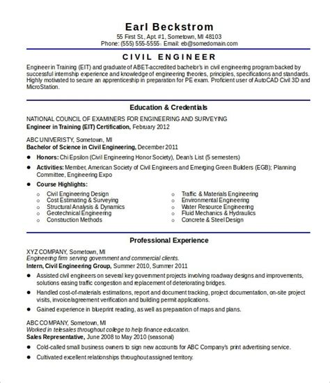 Resume Sle Engineering Student resume objective civil engineer 28 images exle resume