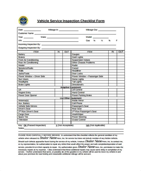10 Vehicle Inspection Checklist Templates Pdf Word Excel Pages Sle Templates Vehicle Safety Inspection Checklist Template