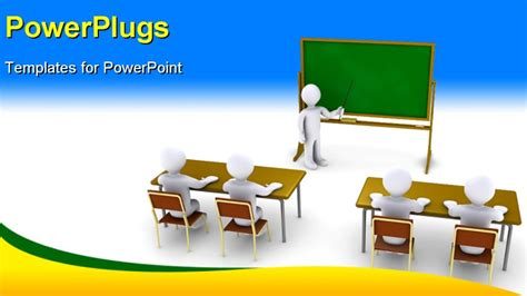 powerpoint templates for training presentation four 3d people as students in school and another as