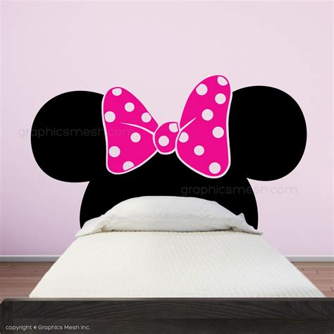 minnie mouse ears with bow headboard wall decals graphicsmesh