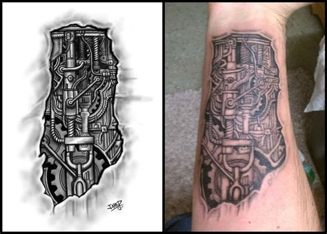 biomechanical gear tattoo sleeve gear tattoo designs biomechanical forearm tattoo by