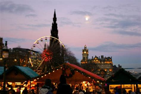 christmas in edinburgh with the balmoral in the background