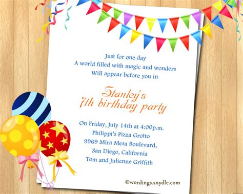invitation wordings for year birthday 7th birthday invitation wording wordings and messages