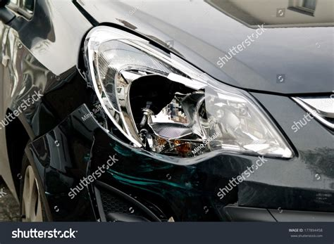 small cars black small black car damaged headl after stock photo