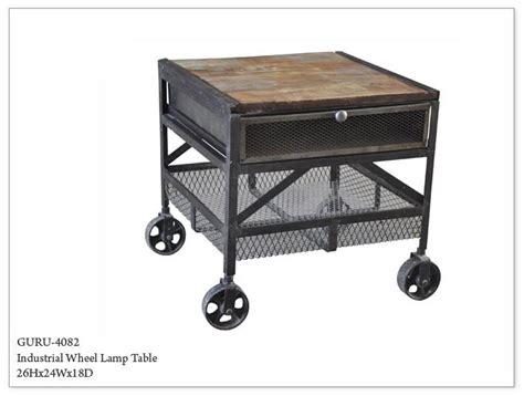 Nightstand With Wheels by Guru Industrial Wheeled End Table Horizon Home Furniture