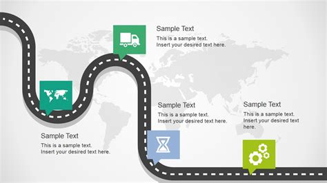 Curved Road Map Concept For Powerpoint Slidemodel How To Draw Roadmap In Powerpoint