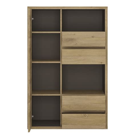 Cabinet Door Display Shetland 1 Door 4 Drawer Display Cabinet