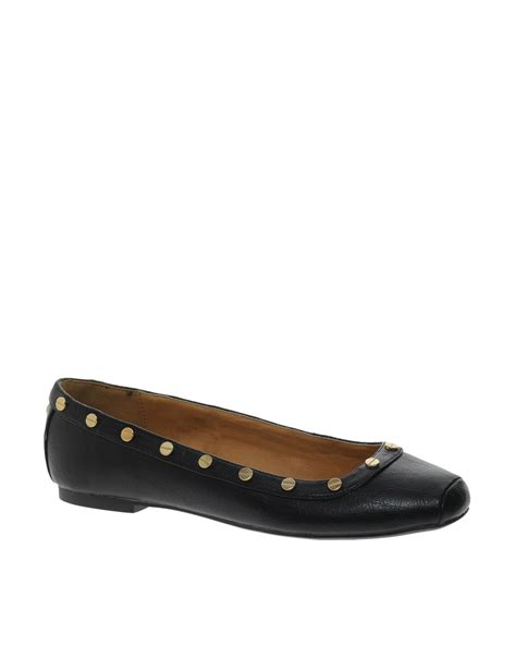 toe flat shoes lyst river island peacan square toe ballerina flat shoes