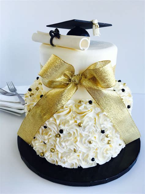 Graduation Cakes by Classically Graduation Cake In Black White And