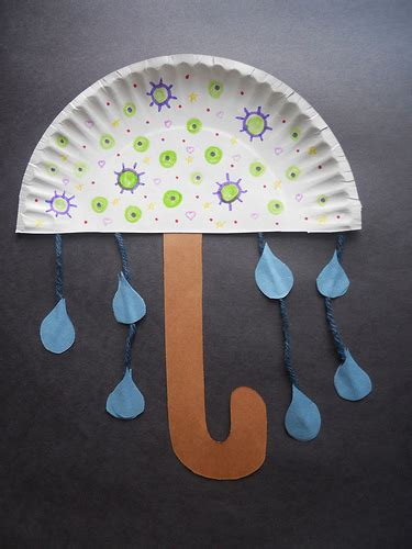 How To Make Umbrella With Paper Plate - paper plate umbrella crafts