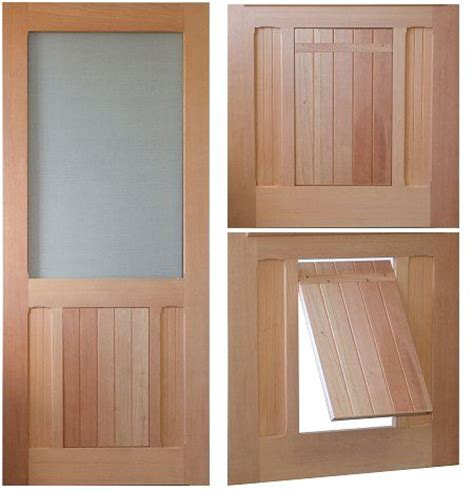 Saranac Traditional Style Screen Storm Door Solid Wood Interior Door With Pet Door