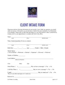 psychotherapy intake form template counseling intake forms sles fill printable