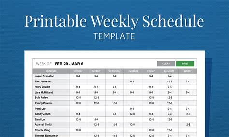 Free Schedule Templates by Free Printable Weekly Work Schedule Template For Employee