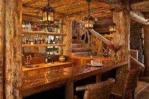 log cabin bar home bar rustic with bottles traditional