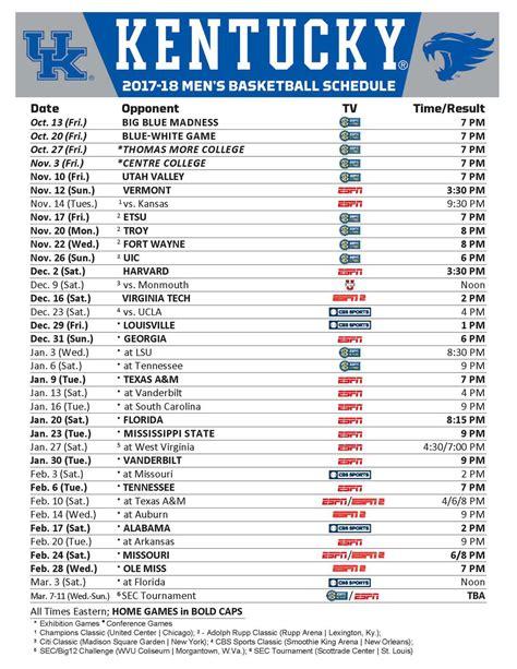 Uk Basketball Schedule Full | kentucky wildcats basketball full 2017 18 schedule