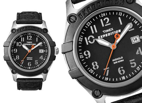 Expedition E6318m Leather Black List timex watches