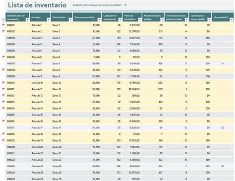 plantilla para inventarios personales lista de inventario con la opci 243 n de hacer un nuevo pedido
