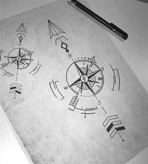 arrow compass tattoo geometric compass arrow tattoos about arrow compass