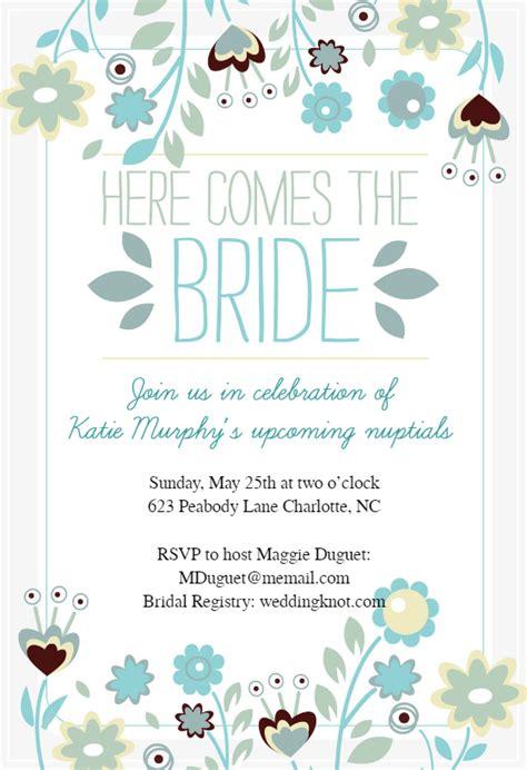 free printable wedding invitation templates greetings island here comes the bride wreath free bridal shower