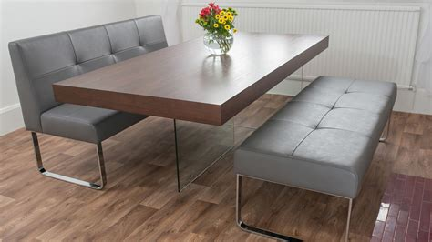 dining table with benches modern trendy dark wood dining set with dining benches wide