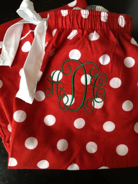 monogrammed christmas pajama pants by charlottesstitch on