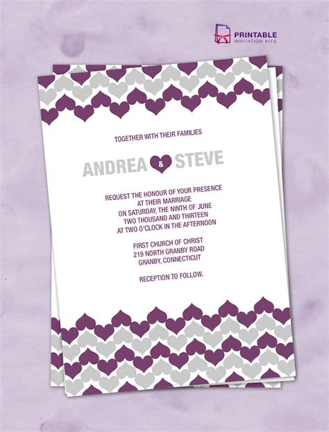 printableinvitationkits com chevron hearts wedding invitation wedding invitation
