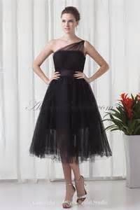 allens bridal net and satin one shoulder tea length a