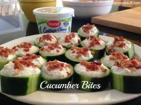 Party appetizers cucumber bites stowed stuff