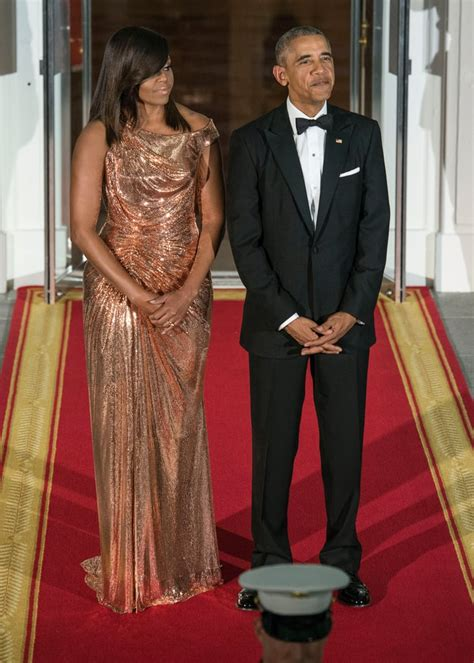 michelle obama dresses michelle obama s versace dress at italy state dinner 2016