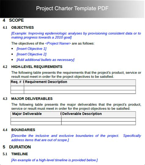 project template pdf project charter templates word and pdf
