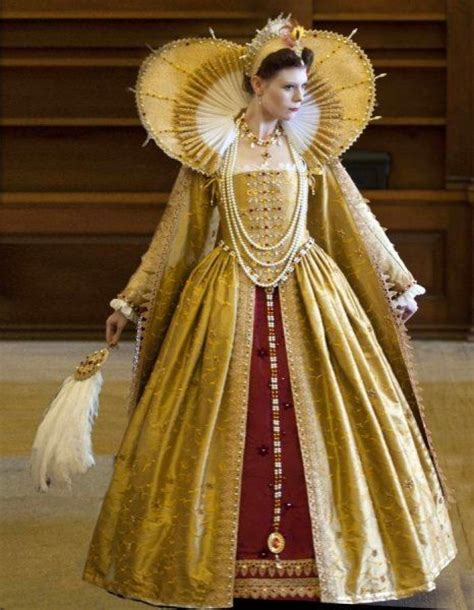elizebethan fasion full image of elizabethan gold dress with large neck