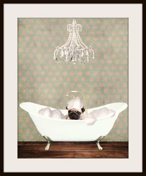 pug bathtub the pered dog art print we heart it pugs