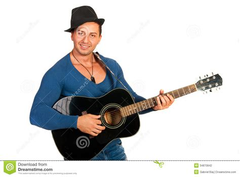 who is the man with guitar in the direct tv commercial cool guy with hat playing guitar stock photography image
