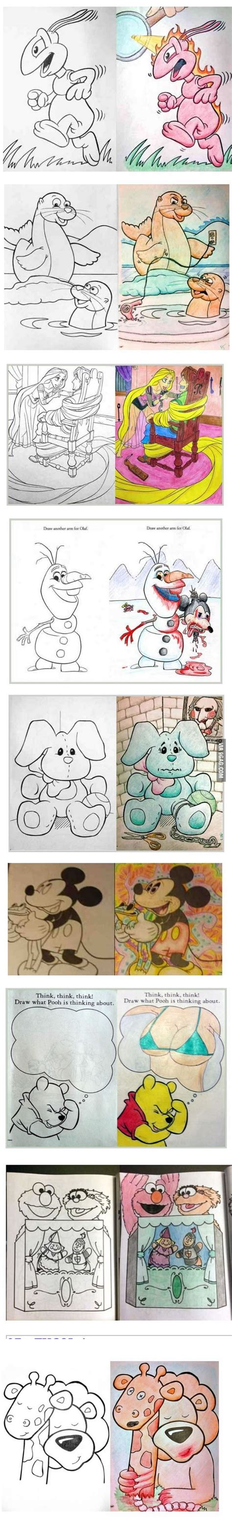 9gag Sketches by Hilarious Coloring Book Drawings 9gag