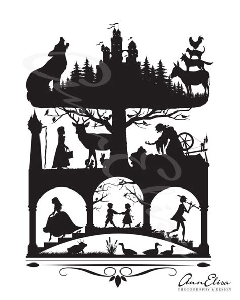 silhouette tattoo paper instructions brothers grimm fairy tales silhouette by