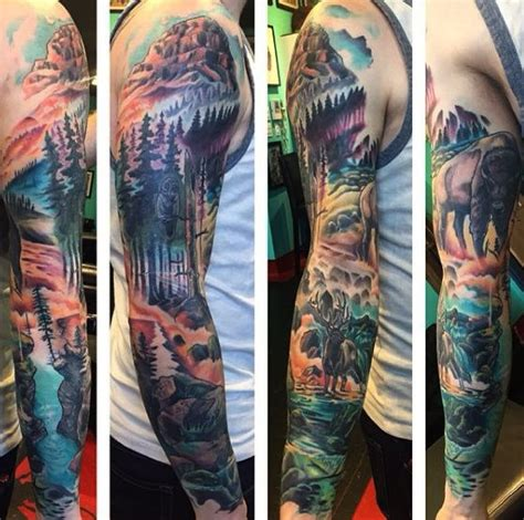 mens wilderness tree sleeve design ideas