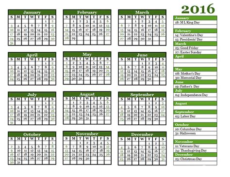 Calendar Templates 2016 2016 Yearly Calendar Template 06 Free Printable Templates