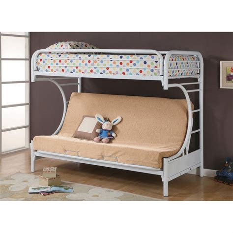 Fordham C Style Twin Over Full Futon Bunk Bed White