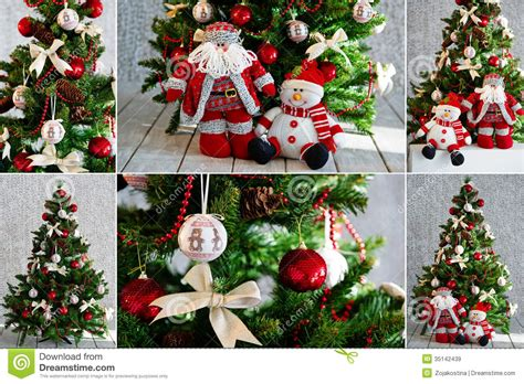 christmas tree and ornaments in red stock image image