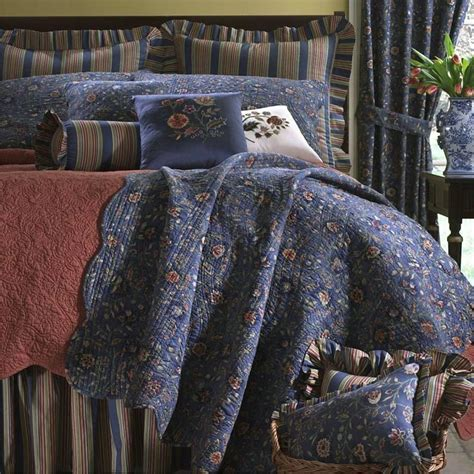 dark blue coverlet wakefield jacobean floral dark blue quilt bedding
