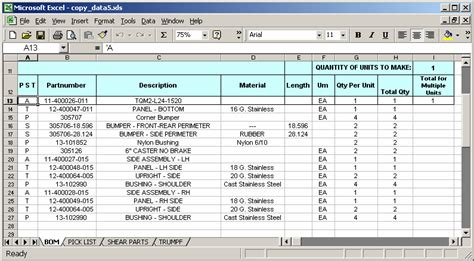 bom template excel ms excel 2003 copy data to various sheets based on the
