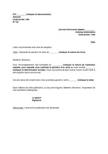 Exemple De Lettre A Un Journal Exemple Gratuit De Lettre Demande Publication Journal Annonces L 233 Gales Un Avis Modification Une Sci