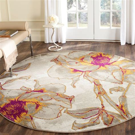 Safavieh Porcello Rug by Safavieh Porcello Ivory Grey 5 Ft X 5 Ft Area Rug